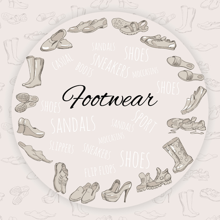 rubber boots: Hand drawing various types of different footwear arranged in a circle on seamless background. Male and female shoes, sandals, boots, moccasins, rubber boots and else. Vector illustration.