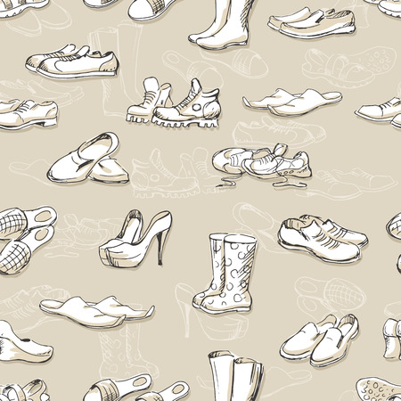rubber boots: Hand drawing various types of different footwear. Seamless pattern of shoes sketch, male and female shoes, sandals, boots, moccasins, rubber boots and else. Vector illustration shoes sketch background. Illustration