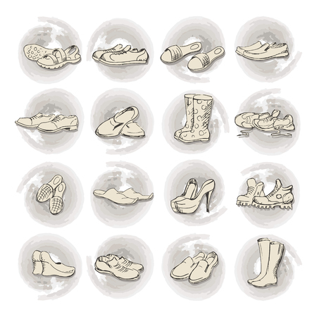 rubber boots: Hand drawing various types of different footwear. Shoes icons sketch, male and female shoes, sandals, boots, moccasins, rubber boots and else. Vector illustration shoes sketch background.