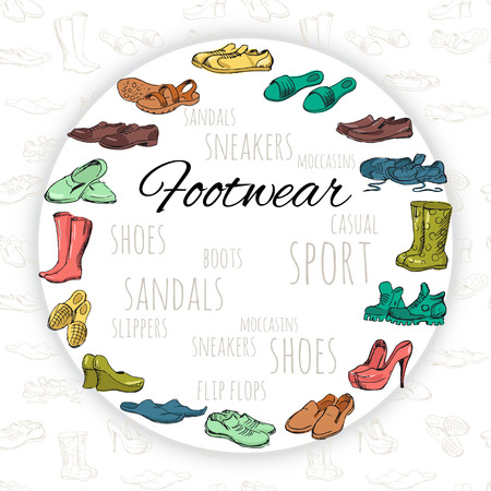 moccasins: Hand drawing various types of different footwear arranged in a circle on seamless background. Male and female shoes, sandals, boots, moccasins, rubber boots and else. Vector illustration.