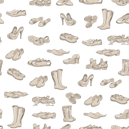 moccasins: Hand drawing various types of different footwear. Shoes icons sketch, male and female shoes, sandals, boots, moccasins, rubber boots and else. Vector illustration of shoes sketch seamless background.