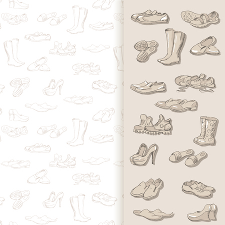 moccasins: Hand drawing various types of different footwear. Shoes icons sketch, male and female shoes, sandals, boots, moccasins, rubber boots and else. Vector illustration shoes on seamless background. Illustration