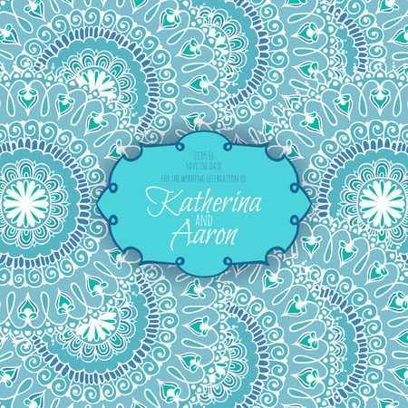 twosome: Invitation wedding card with circular floral ornament and place for text. Vector illustration. Illustration
