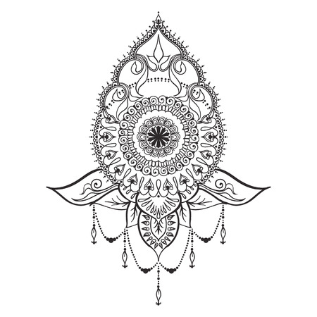 east: Template for tattoo design with mehndi elements and mandala on the center. Floral ornament. Islam, arabic, indian, ottoman motifs. Black and white vector illustration. Illustration