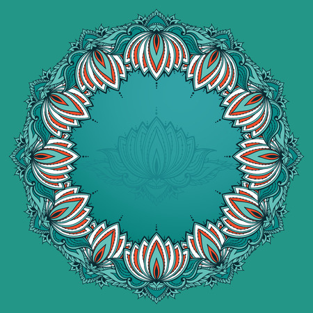 else: Circular floral ornament with lotuses. Can be used for backgrounds, business style, tattoo templates, cards design, frames or else. Vector illustration in east style. Illustration