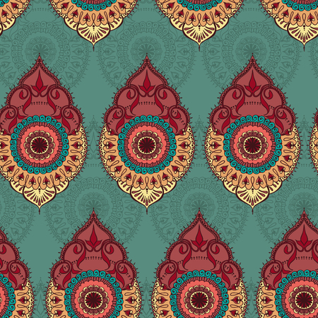 Seamless pattern with hand drawn floral ornament and mandala elements. Vector illustration.
