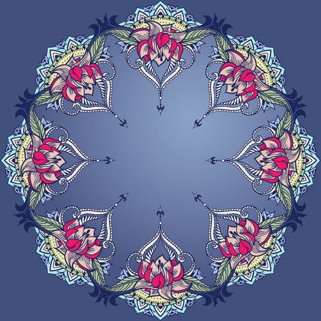 else: Circular ornament with lotuses. Can be used for backgrounds, business style, tattoo templates, cards design, frames or else. Vector illustration in east style. Illustration
