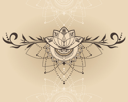 Hand-drawn lotus in east style. Can be used for backgrounds, business style, tattoo templates, cards design or else. Vector illustration.