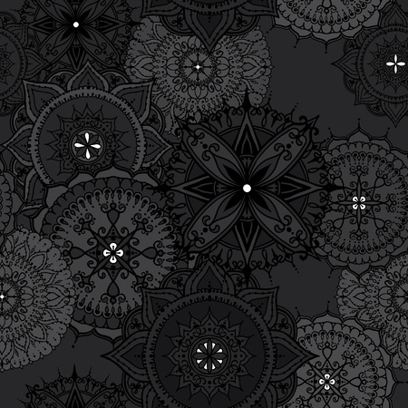 asian and indian ethnicities: Seamless pattern with circular floral ornaments. Floral Mandala for the greeting cards,  invitation, template frame design for business style, cards or else. Vector illustration.