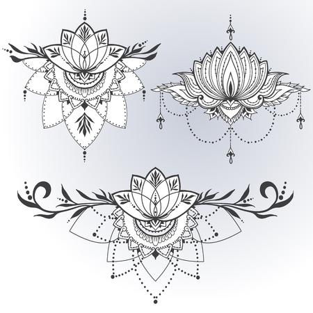 Tres flores de loto dibujados a mano en el este estilo. Puede ser utilizado para los fondos, el estilo de negocios, plantillas de diseño de tatuaje, tarjetas o de lo contrario. Ilustración del vector.