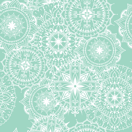 asian and indian ethnicities: Seamless pattern with circular floral ornament. Round pattern mandala for the greeting cards,  invitation, template for business style, wedding cards or else. Vector illustration