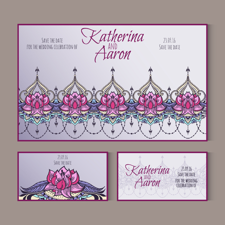 twosome: Set of invitation wedding cards with lotuses and place for text. Vector illustration.