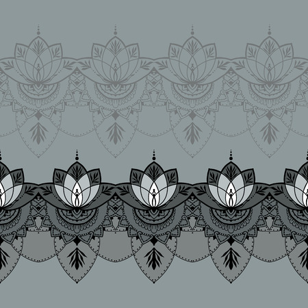 else: Seamless pattern with lotuses. Can be used for backgrounds, business style, tattoo templates, cards design or else. Vector illustration.