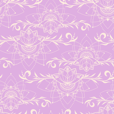 else: Seamless pattern with lotuses in east style. Can be used for backgrounds, business style, tattoo templates, cards design or else. Vector illustration.