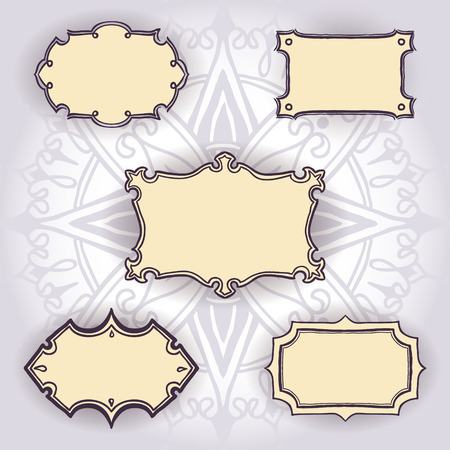 Set of  free hand drawn frames on mandala background. Can be used for the invitations for birthday, wedding, summer and spring design. Vector illustration.
