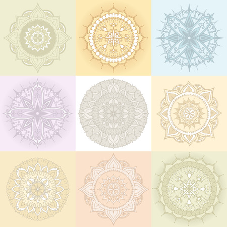 else: Set of nine circular floral ornaments. Round Pattern Mandala in light colors. Can be used for the greeting cards,  invitation, template frame design for business style, cards or else. Vector illustration