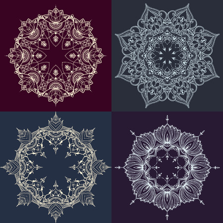 flower decoration: Four floral round backgrounds. Circular ornaments with lotus flowers. Can be used for backgrounds, business style, tattoo templates, cards design or else. Vector illustration. Illustration
