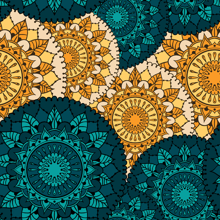 else: Seamless pattern with circular floral ornament. Round Pattern Mandala. Pattern for the greeting cards,  invitation, template frame design, business style, cards or else. Vector illustration