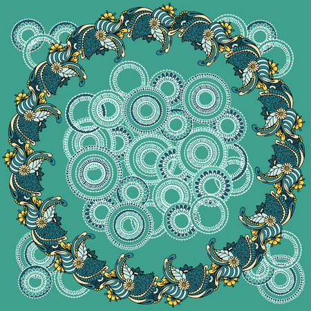 asian and indian ethnicities: Floral ornaments arranged in a circle. Floral round pattern for the greeting cards,  invitation, template frame design for business style, cards or else. Vector illustration Illustration