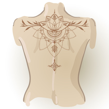 Hand-drawn tattoo of lotus in east style on her back. Can be used for backgrounds, business style, tattoo templates, cards design or else. Vector illustration.