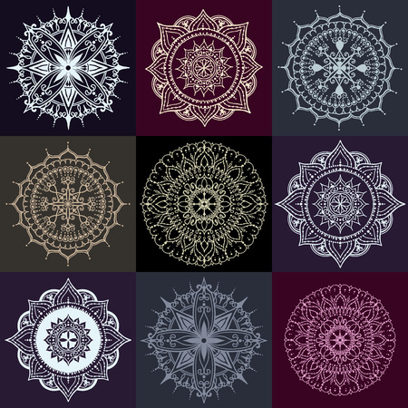 else: Set of nine circular floral ornaments. Round Pattern Mandala on dark backgrounds. Can be used for the greeting cards,  invitation, template frame design for business style, cards or else. Illustration