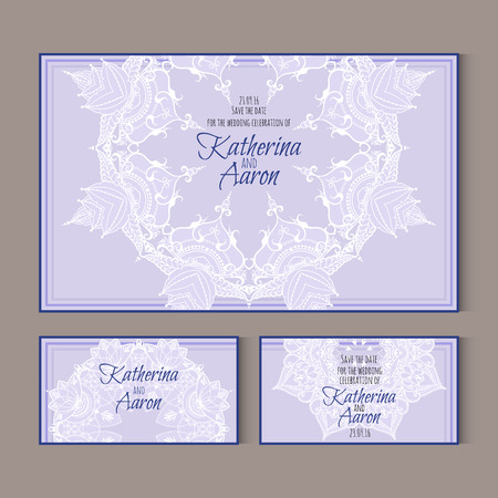 twosome: Set of invitation wedding cards with lotus flowers and place for text. Vector illustration.