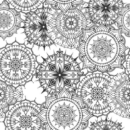else: Seamless pattern with circular floral ornament. Round pattern mandala for the greeting cards,  invitation, template for business style, wedding cards or else. Vector illustration
