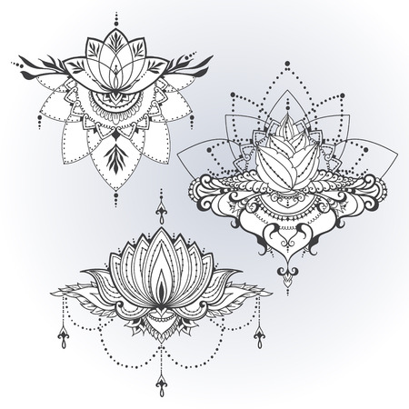 Three hand-drawn lotus flowers in east style. Can be used for backgrounds, business style, tattoo templates, cards design or else. Vector illustration.