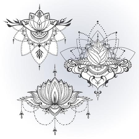 Tres flores de loto dibujados a mano en el este estilo. Puede ser utilizado para los fondos, el estilo de negocios, plantillas de diseño de tatuaje, tarjetas o de lo contrario. Ilustración del vector. Foto de archivo - 61079168