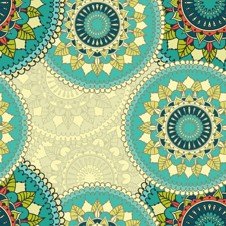 Seamless pattern with colored circular floral ornament. Floral background with mandalas for the greeting cards, invitation, template frame design, business style, cards, textile backgrounds or else. Vector illustration. 矢量图像