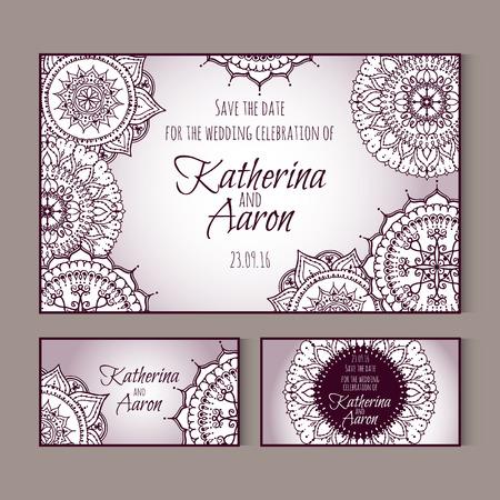 twosome: Set of invitation wedding cards. Circular patterns decor on cards. Vector Mandala.