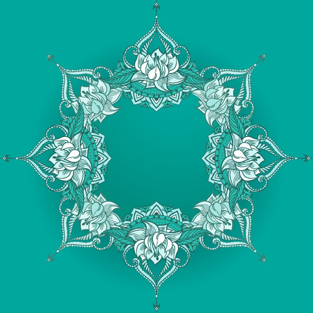 else: Floral ornament with lotuses. Can be used for backgrounds, business style, tattoo templates, cards design, frames or else. Vector illustration in east style.