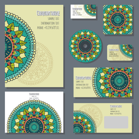 discs: Set of templates for cd discs, envelopes, notebooks, credit card, business card and invitation card with round ornament. Corporate style. Vector illustration. Illustration