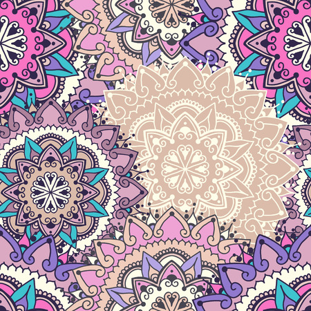 else: Seamless pattern with circular floral ornament. Floral background with mandalas for the greeting cards, invitation, business style, cards, textile backgrounds or else. Vector illustration in light violet colors.