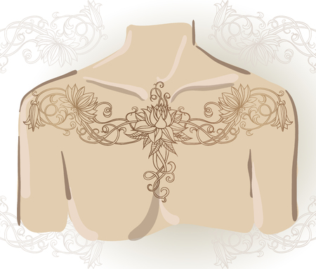 else: Hand-drawn tattoo of lily on collarbones. Can be used for backgrounds, business style, tattoo templates, cards design or else. Vector illustration.