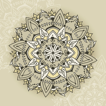 else: Circular floral ornament in east style. Round Pattern Mandala. Floral round pattern for the greeting cards,  invitation, tattoo design, business style, cards or else. Vector illustration