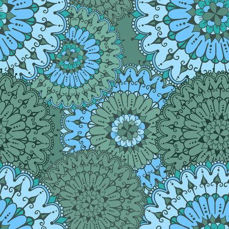 else: Seamless pattern with circular floral ornament. Floral background with mandalas for the greeting cards, invitation, business style, cards, textile backgrounds or else. Vector illustration in turquoise colors. Illustration