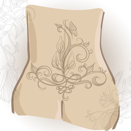 booty: Freehand drawing of tattoo with lilies on the womans booty. Can be used for backgrounds, business style, tattoo templates, cards design or else.