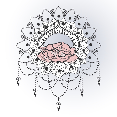 Freehand drawing of roses in east style. Can be used for backgrounds, business style, tattoo templates, cards design or else.