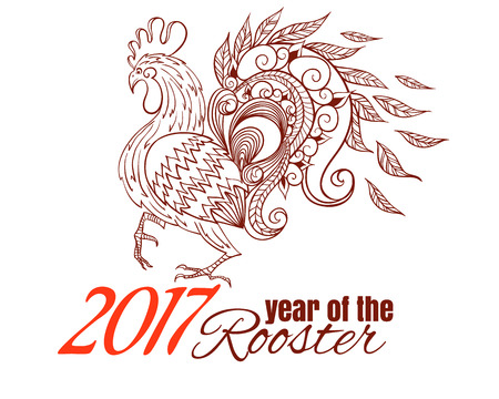 Hand-drawn illustrations of the rooster. Illustration of rooster, symbol of 2017 on the Chinese calendar.