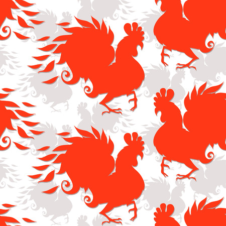 Seamless pattern with roosters. Illustration of rooster, symbol of 2017 on the Chinese calendar. Vector element for New Years design.