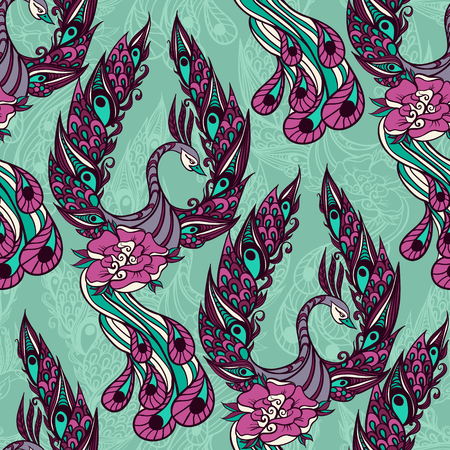 mythical phoenix bird: Seamless pattern with the birds. Drawing of mythical swan. Vector illustration.