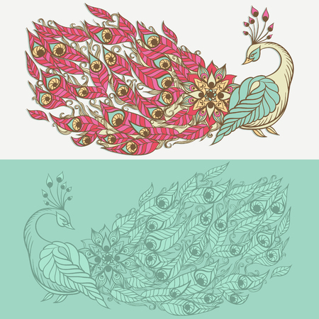 mythical phoenix bird: Hand-drawn illustration of bird. Drawing of mythical swan. Vector illustration.