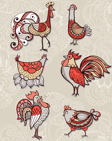Hand-drawn illustrations of birds. Drawings of cocks and hens. Vector illustration.