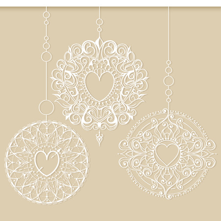 christmas tattoo: Three mandalas like a snowflakes or Christmas decorations hanging in a row. Mehndi elements for tattoo design, card backgrounds, print on clothes or else. Illustration