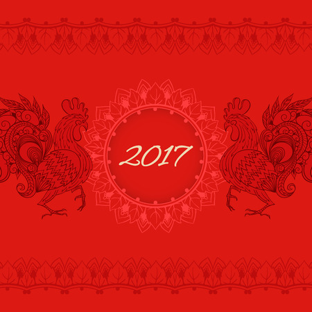 Hand-drawn illustrations of the roosters. Illustration of rooster, symbol of 2017 on the Chinese calendar. Vector element for New Years design.