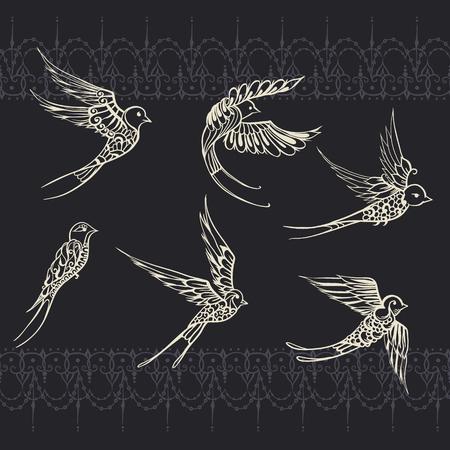 Illustrations à la main d'oiseaux. Dessins d'hirondelles dans le style Mehndi. Vector Set on seamless background avec des rayures infinies.