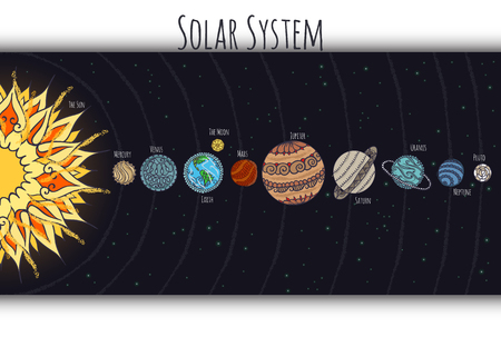 Abstract scheme of solar system with ornaments on the planets. Illustration