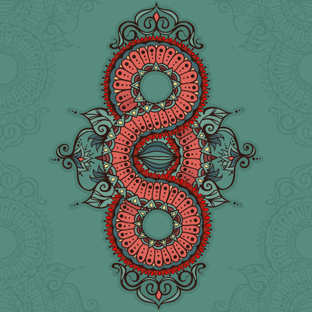 Template for tattoo design or card decoration with mehndi elements. Floral ornament. Islam, arabic, indian, ottoman motifs. Infinity design. Vector illustration.