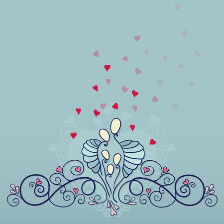 Symbool van een gelukkige familie concepten. Ouders daar met drie kinderen vol liefde. Vector illustratie met moeder, vader en kinderen. Stock Illustratie